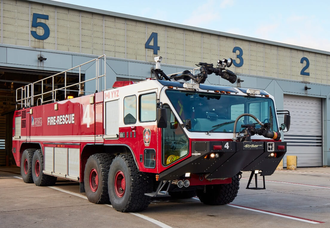 A emergency response vehicle on site at Toronto Pearson Airport