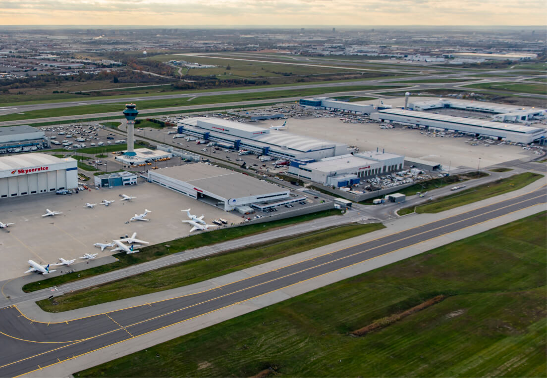 An aerial view of Toronto Pearson Airport