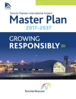 An image of the cover of Toronto Pearson's Master Plan 2017-2037