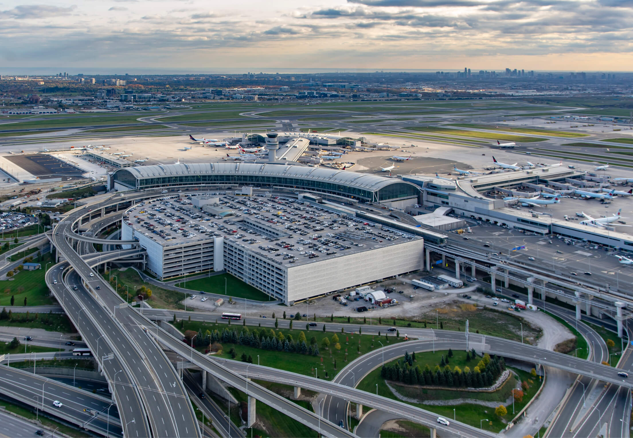 An aerial view of the entire Toronto Pearson Airport