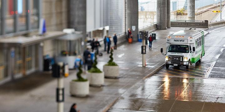 Off-airport parking shuttles