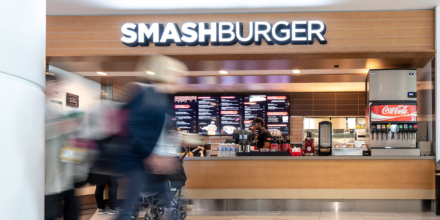 Smashburger sign above ordering counter