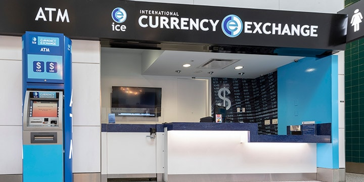 Currency Exchange counter and ATM.