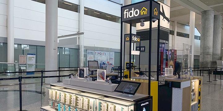 Fido kiosk in Terminal 1 International Arrivals area