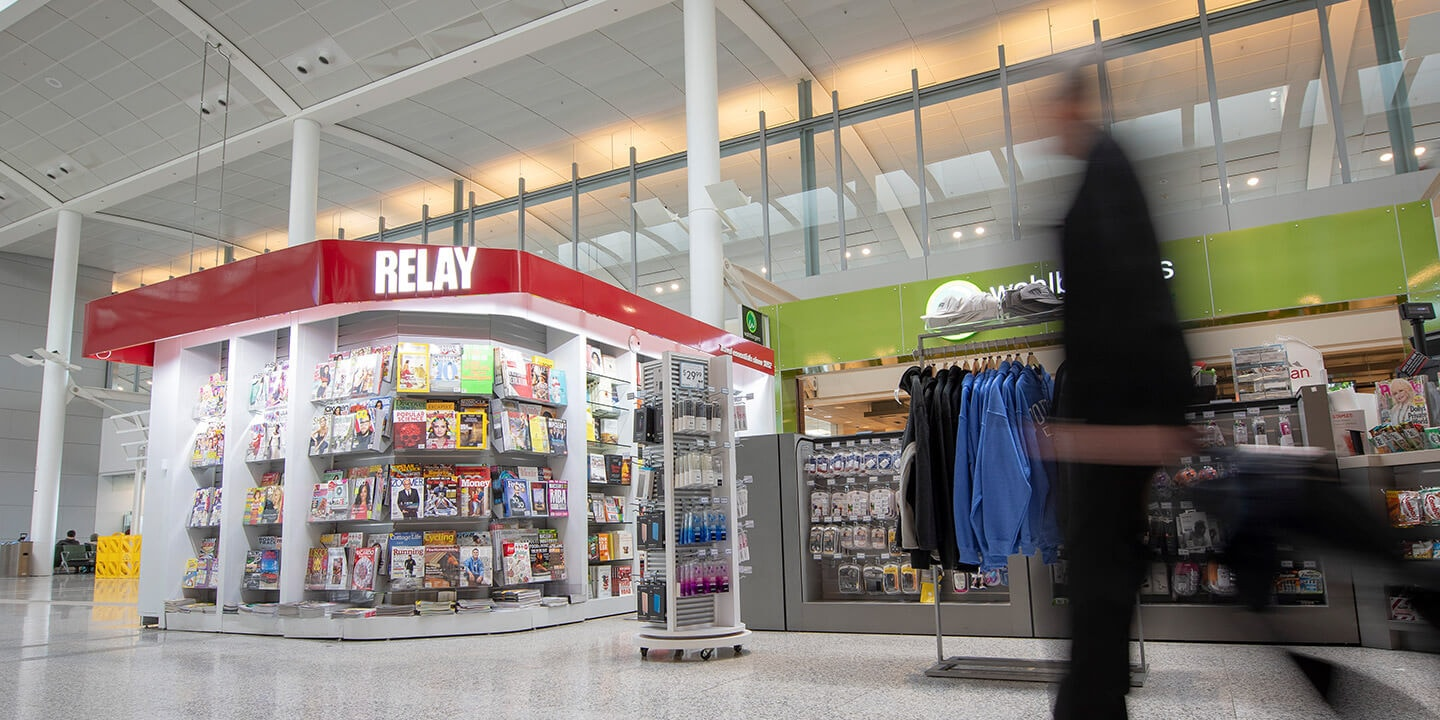 View of Relay kiosk with magazines and snacks