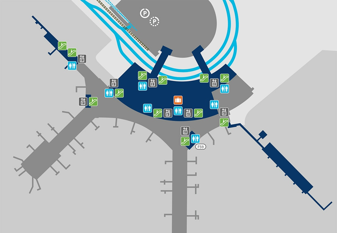 A map of Terminal 1, Level 1 before security