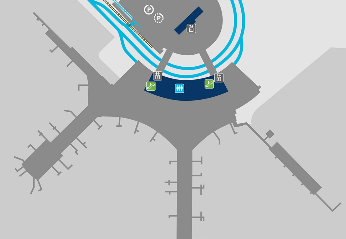 A map of Terminal 1, ground level