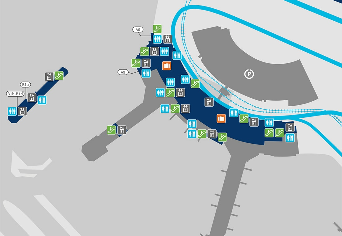 A map of Terminal 3 arrivals