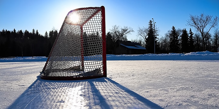 hockey net on frozen pond