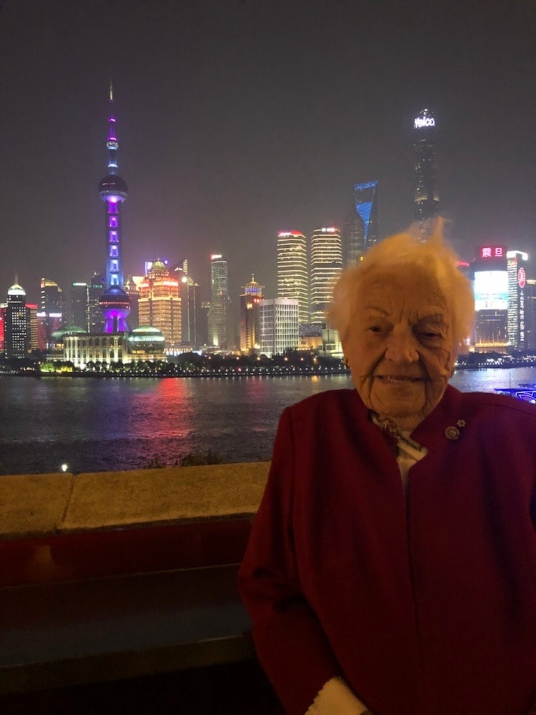 Hazel McCallion in front of Toronto skyline